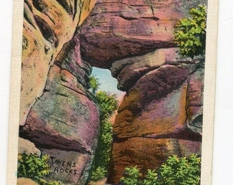 Twin Rocks, Rock City, near Olean, NY vintage postcard