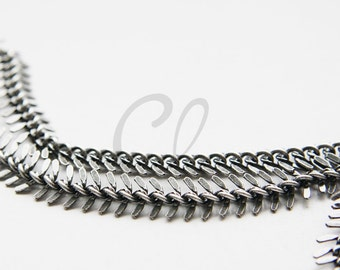 One Foot Oxidized Silver Plated Brass Chain-Fish Bone 10-11mm (416C01)
