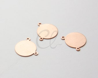 4pcs Copper Metal Blank-Stamp on - Metal stamping - Round with Loops 16mm (210802)