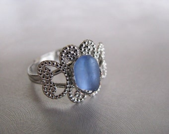 Filigree Sea Glass Ring - Cornflower Blue Sea Glass - Beach Glass Ring - Sea Glass - Sea Glass Jewelry
