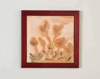 Tile Wall Art Framed Tile Wall Hanging Peach Flowers