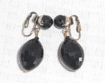 40s 50s Vintage Black Faceted Dangle Earrings by Dalsheim Clip On Style