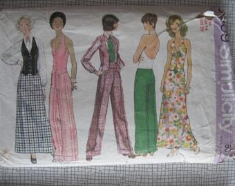 "1972 Blouse Halter-Vest Pants Trousers & Skirt - 36"" Bust - Simplicity 5409 - 1970s Retro Vintage Sewing Pattern"
