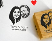 Custom portrait stamp / Personalized stamp for couple / self ink / wood block mount / for weddings invitations save the date favors