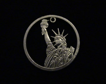 2012 US Dollar - cut coin pendant - w/ Statue of Liberty