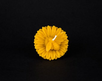Pure Beeswax Candle - Floating Sunflower with honeybee Candle - unique fall decor