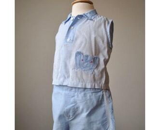 1950s Elephant Check Shirt & Short Set~Size 3 Months