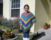 Knitted Poncho, Girls Large - Grey with Vivid Colors