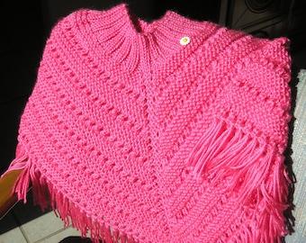 Knitted Poncho, Girls Medium - Bright Pink
