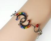 Rainbow Swarovski Crystal Bracelet, Industrial Bracelet, Rainbow Crystal, Statement Bracelet, Bridal Jewelry, Pride, Dark Matter IV v8