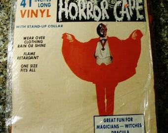 """Vintage NIP 1970s  41""""  Red Vinyl Horror Cape by Toymark"""