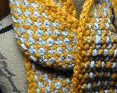 Chunky Knit Scarf - Ladies Linen Look Knit Scarf - Mens Neckwarmer - KnitzAndFeltz New Design - Butterscotch Gold - Marble Grey - Gray