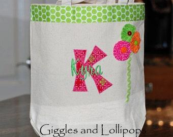 Girls personalized canvas tote flower girl brides wedding specials teacher gift Chevron
