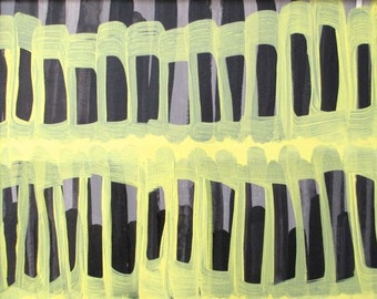 Rhythmic Lines, yellow gray painting, cityscape, abstract line painting