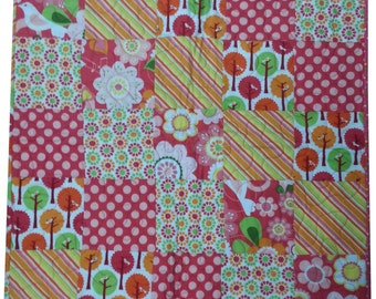 Flannel Baby Quilt in Pink Prints Patchwork