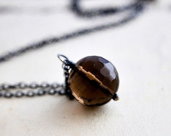 Glass Necklace, Glass Pendant, Mocha, Coffee, Chocolate, Pendant Necklace, Glass Jewelry, Sterling Silver, Brown, Simple Pendant, PoleStar