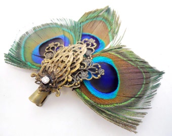 Peacock feather steampunk hair clip with filigree ornaments Fascinator perfect for the bohemian bride, date night or tribal gypsy all of us
