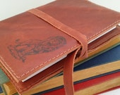 Leather Journal - Leather Sketchbook Cover - Personalize - Monogram - Lion