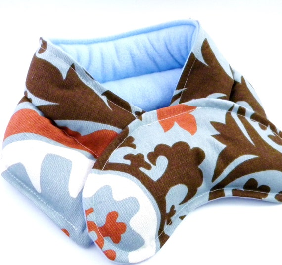 Heat Pad Hot Cold Therapy Packs, Neck Wrap, Neck Pillow Eye Pad, rice and flax bag, Heating Pad Microwaveable, light blue brown