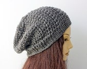 Charcoal Gray Slouchy Beanie, Ready to Ship,  Slouchy Hat, Winter Hat, Hand Crochet Hat , Ready to Ship