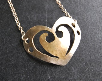 Domed Bass Clef Heart