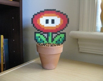 Super Mario Bros Fire Flower Potted Plant Perler Bead