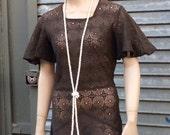 Flapper 1920s Brown Lace Drop Waist Dress