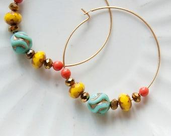 Sunny skies -  hoop earrings