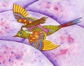 Flying on a Bird. Art print from my watercolour painting.