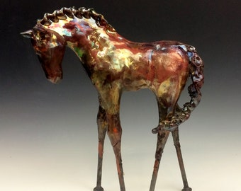 Extra Large Copper Raku Horse 592 FREE SHIPPING