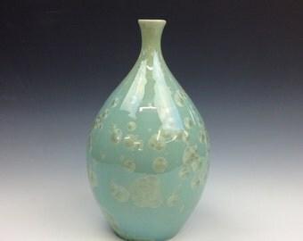 Large Green Crystalline Glazed Teardrop Vase