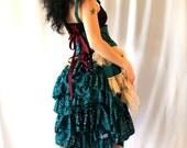 SALE Upcycled Sari Tulle Ruffled Bustle Corset Dress
