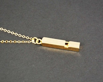 Working Teeny Tiny Gold Whistle Necklace- gold plated