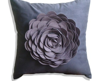 "Luxury Purple Pillows Cover, 16""x16"" Faux Suede Pillows Covers For Couch, Square  Rose Flower Floral Theme Pillows Cover - Plum Rose"