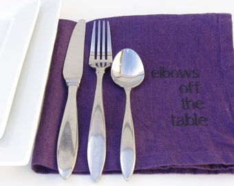 Linen Napkins With Manners in PURPLE Linen Napkins Set of 6 Napkins Housewarming Gift Ideas Dinner Napkins Eco Friendly Embroidered Napkins