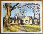 Custom watercolor house portrait - digitally produced - house painting - house warming gift