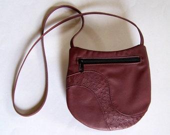 Marsala Leather Purse with Ostrich Leather Inlay - Crossbody Style Festival Bag - Medium Round Burgundy Handbag