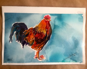 Rooster original archival watercolor painting