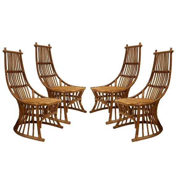 Items similar to vintage rattan set of 4 chairs mid for Modern wicker dining chairs