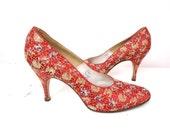 1950s Red Satin Brocade Pumps Heels