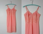 1960s Vintage Full Slip by Laros Flamingo Pink M