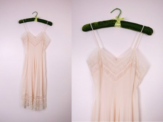 1950s Sheer Peach Vintage French Slip Size 34