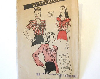 1940s Vintage Sewing Pattern Butterick 3495 Blouse with Bow Neckline - Swing Era / Size 14