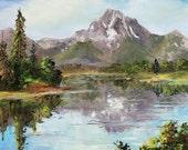 GRAND TETONS MOUNTAIN Framed Original Oil Painting Art National Park Mt. Moran Snow Stream River Lake Rustic Wyoming Scenic Water Pine Trees
