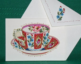 NOTECARDS--Large Teacups with Flowers