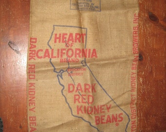 Burlap Feed Sack, Heart of California,, perfect, with printing, 35 x 21