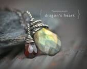 Dragon's Heart - Wire Wrapped Green Blue Flashy Labradorite and Red Garnet Briolettes Sterling Silver Necklace