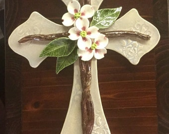 Pottery Cross, Dogwood Flowers