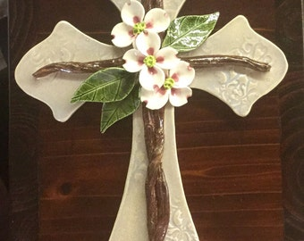 Handmade Pottery Cross, Dogwood Flowers