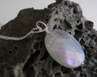 Purple Labradorite Necklace, Semi Precious Stone Pendant, Natural Gemstone Jewelry